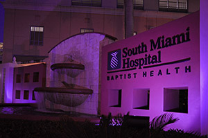 South Miami Hospital light in pink